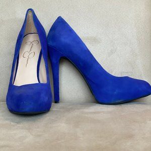 Jessica Simpson Electric Blue Suede Heels (7.5)